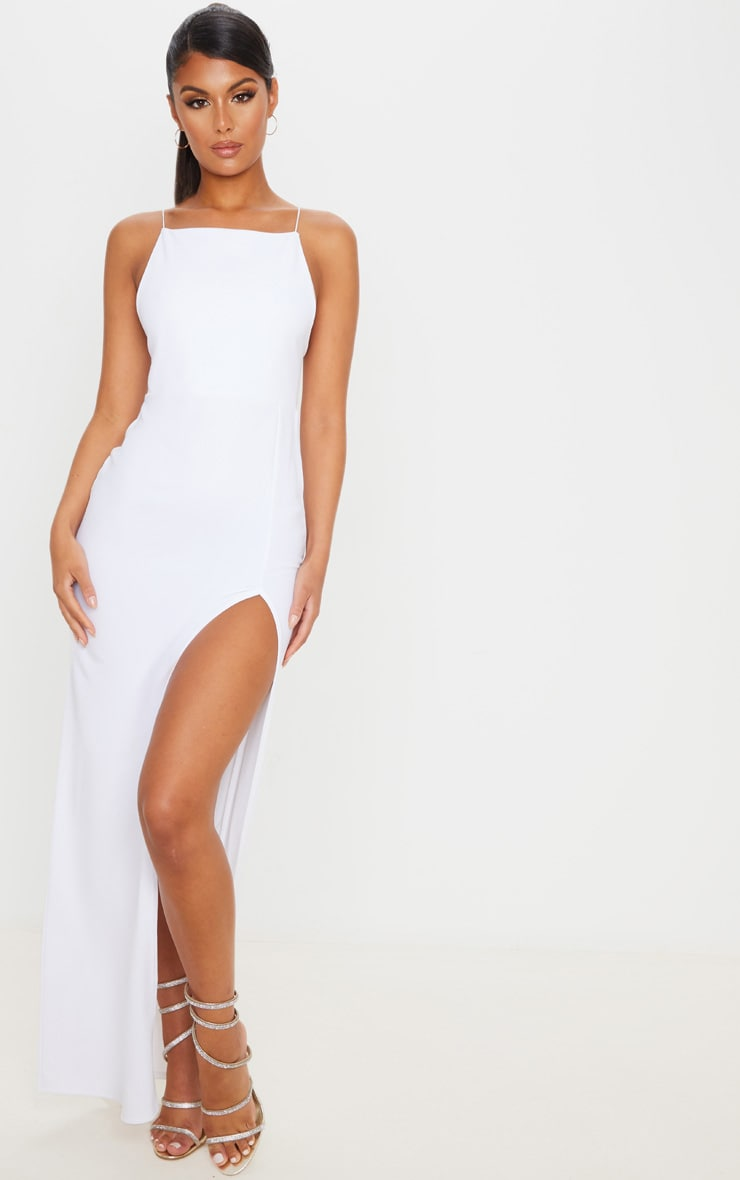 White Straight Neck Cross Back Maxi Dress 1