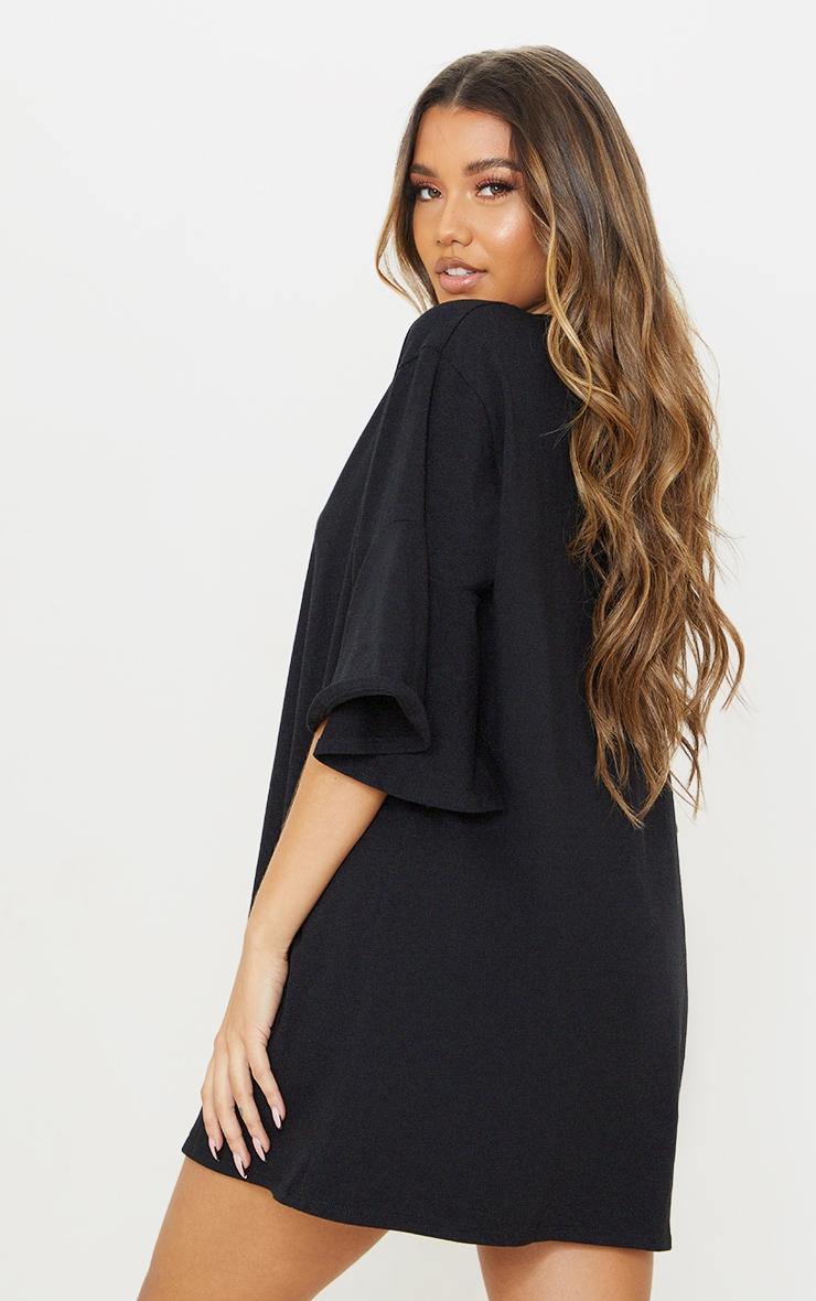 Black Cotton Short Flare Sleeve T Shirt Dress 2