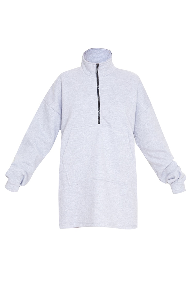 Robe pull grise à col cheminée zippée devant 3