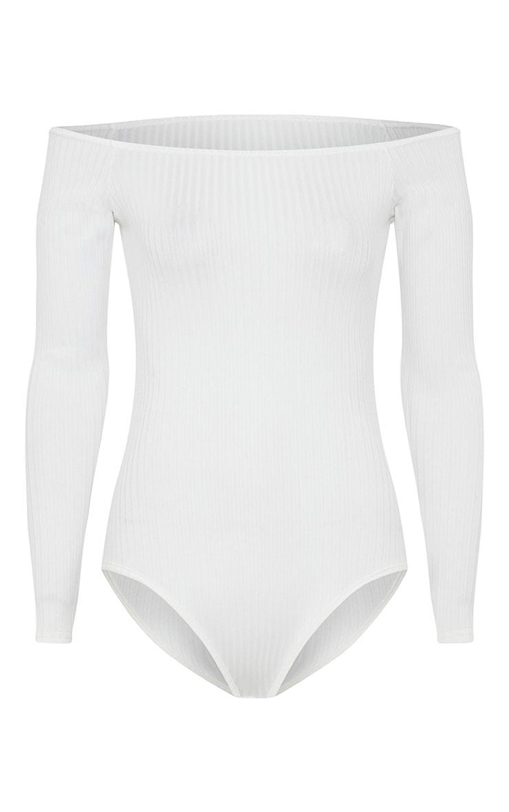 Lilith Cream Ribbed Bardot Bodysuit 3