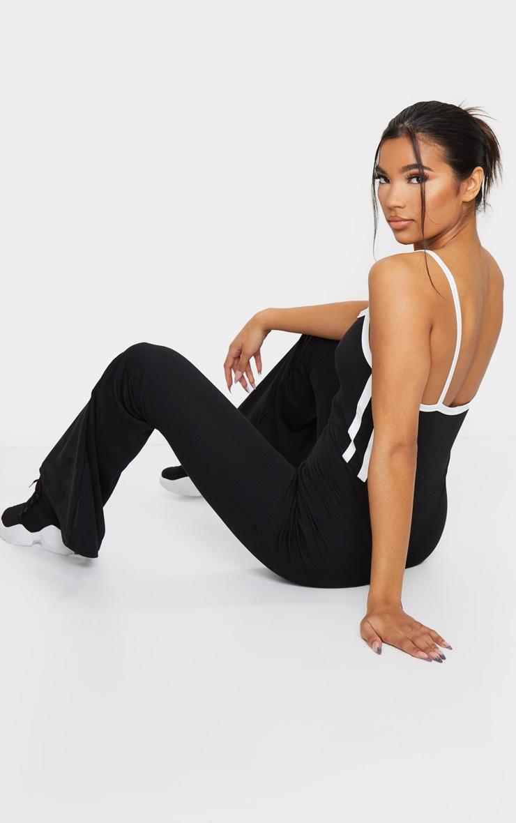 Black Rib Sport Stripe Flare Leg Jumpsuit 2