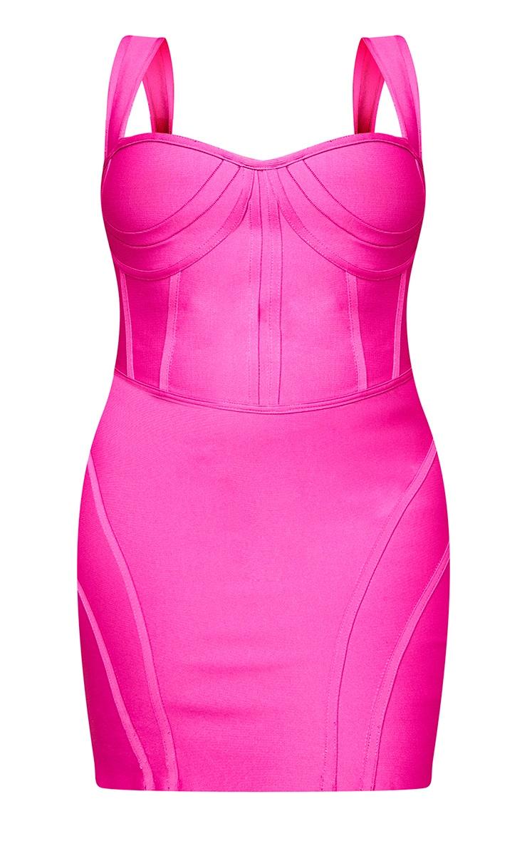 Plus Magenta Bandage Bust Detail Sleeveless Corset Bodycon Dress 5