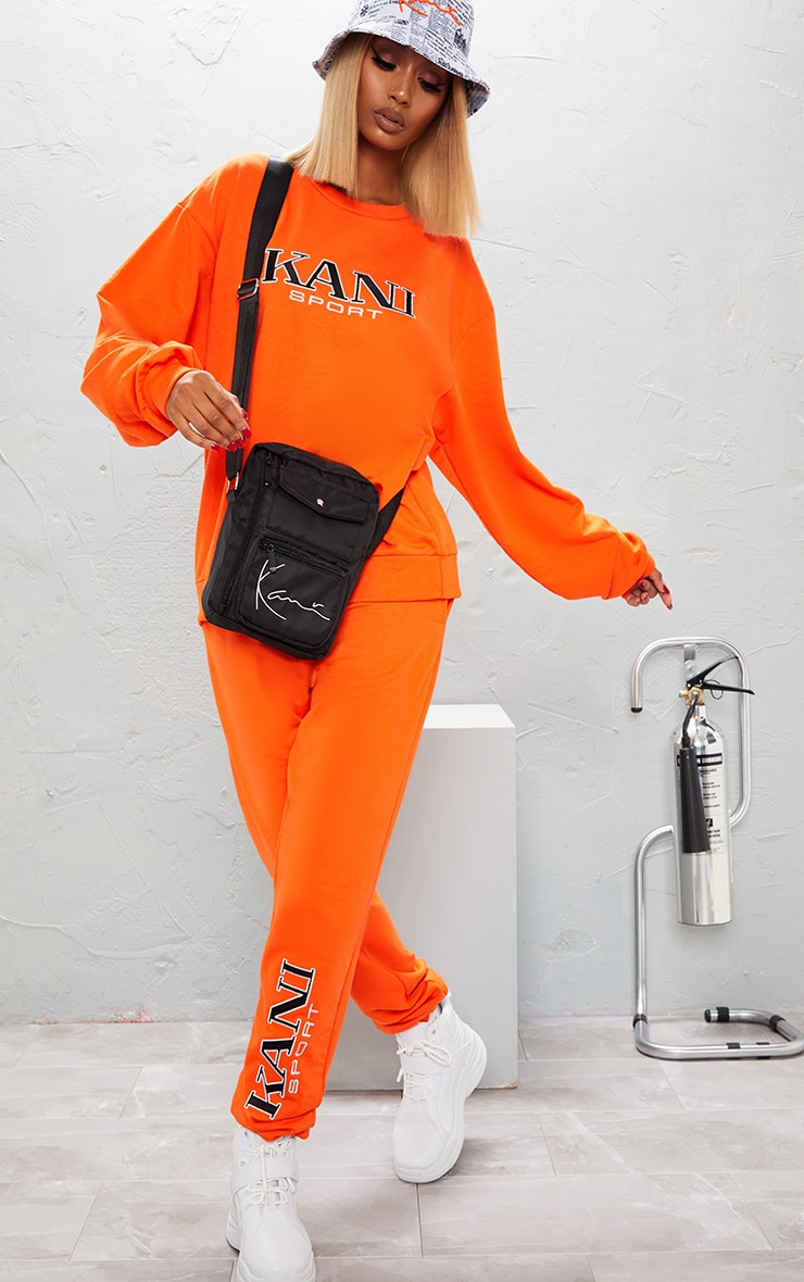 KARL KANI Orange Embroidered Joggers  2