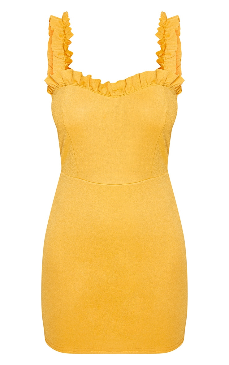 Petite Yellow Frill Hem Bodycon Dress 3