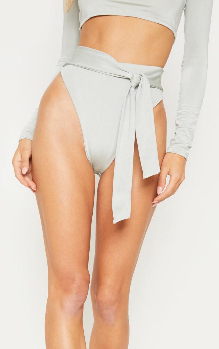 Sage Green High Tie Waist Bikini Bottom 2