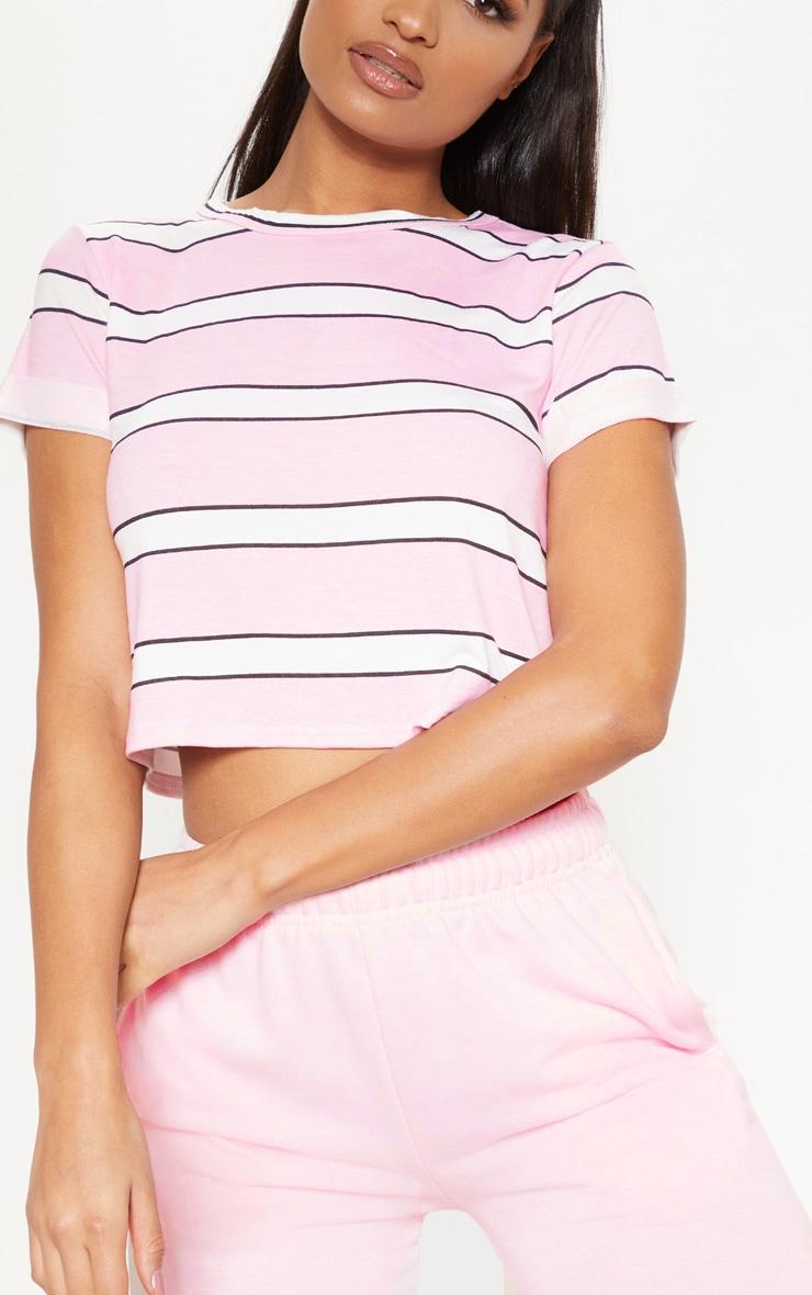 Basic Pink Stripe Roll Sleeve Crop T Shirt  4