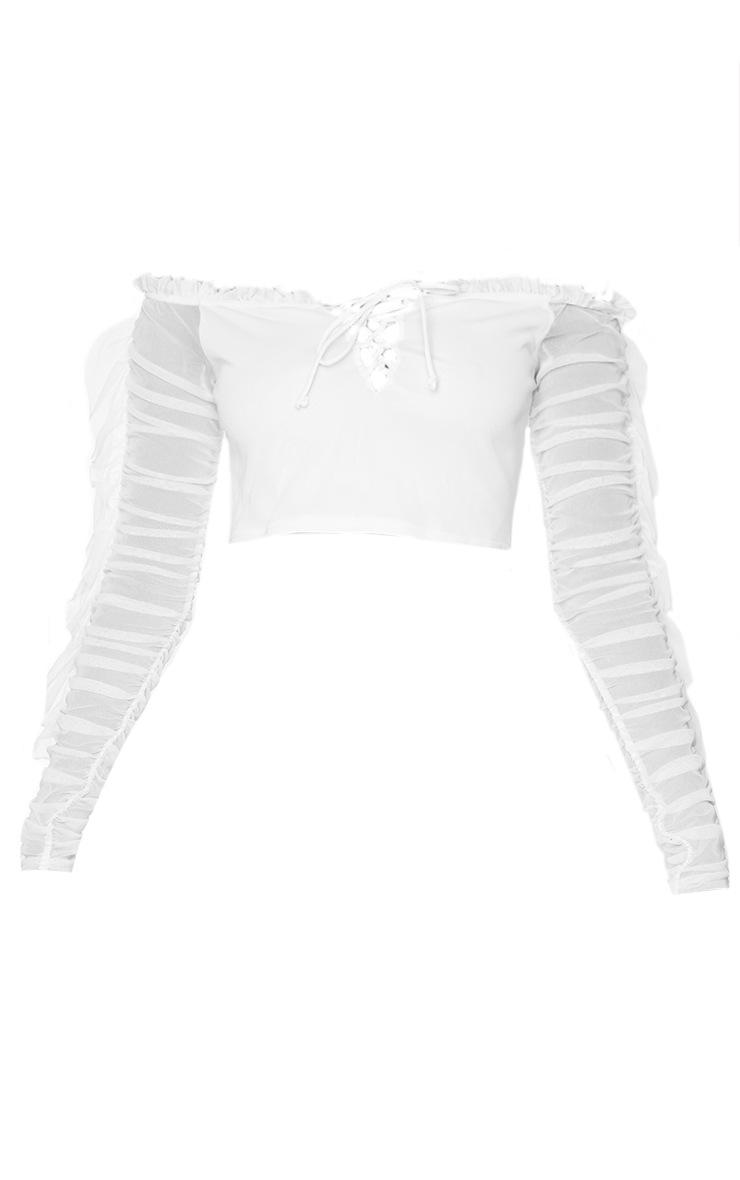 White Mesh Layered Frill Hem Long Sleeve Bardot Crop Top 5