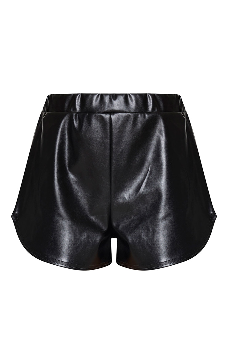 Black Faux Leather Runner Shorts 6