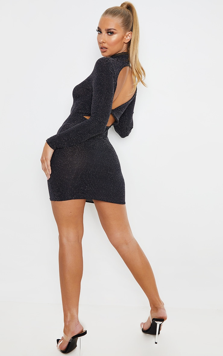 Silver Glitter High Neck Long Sleeve Cut Out Back Bodycon Dress 1