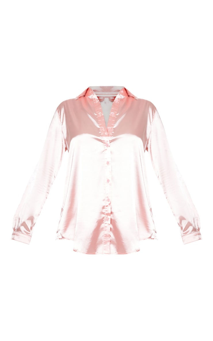 Pink Oversized Satin Shirt 3