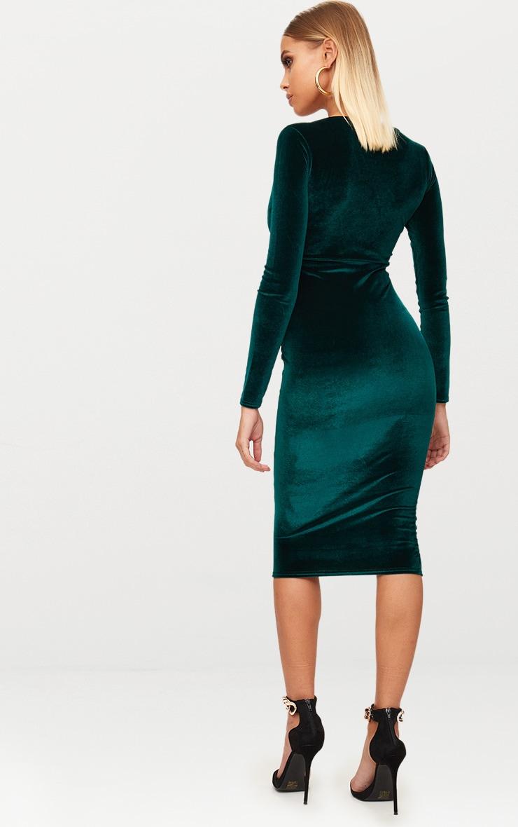 Emerald Green Long Sleeve Plunge Midi Bodycon Dress  2