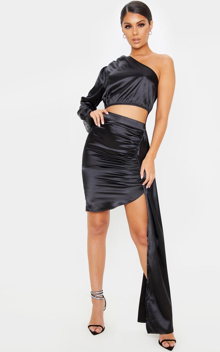 Black Ruched Satin Side Skirt 1