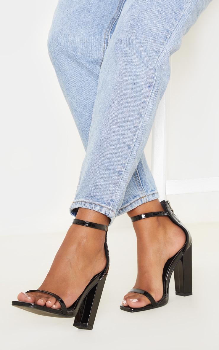 Black Square Toe High Block Heel Sandal 1
