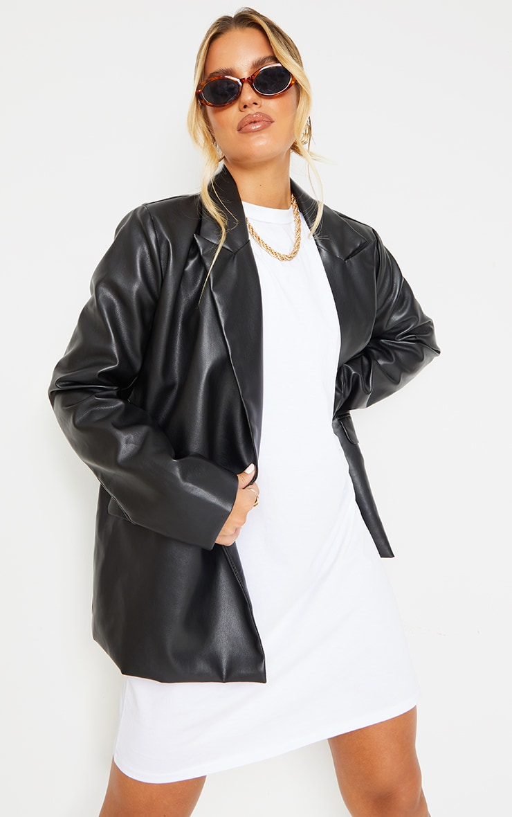 Black Faux Leather Extreme Shoulder Padded Oversized Blazer 1