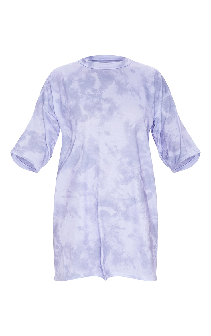 Lilac Tie Dye Oversized Boyfriend T Shirt Dress 5