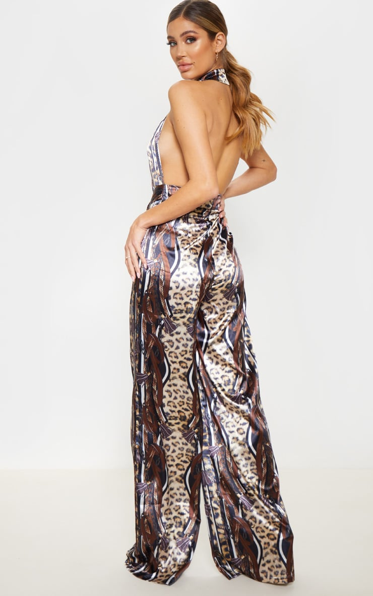Brown Satin Leopard Chain Print Ring Detail Jumpsuit 2