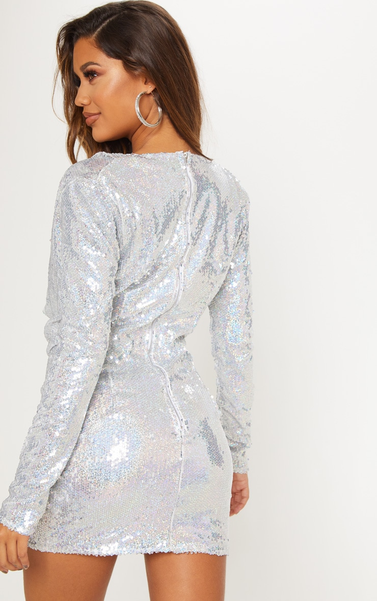 Silver Sequin Cowl Neck Bodycon Dress 3