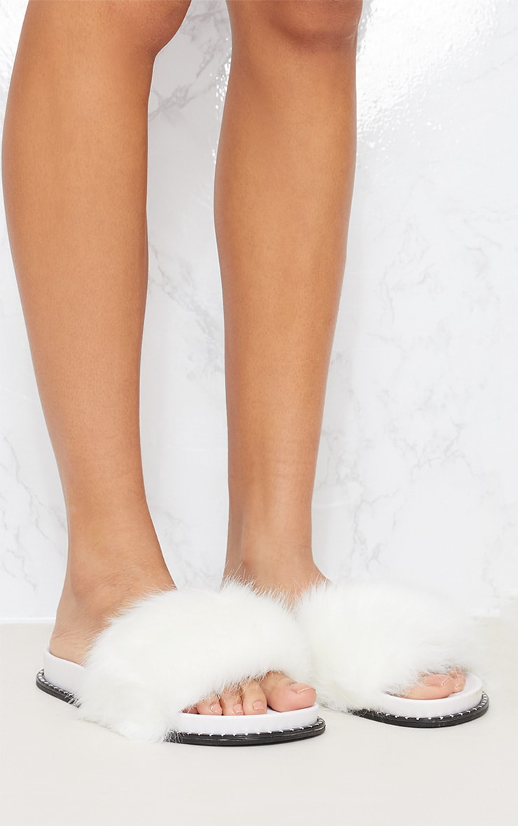 White Faux Fur Studded Sliders 5