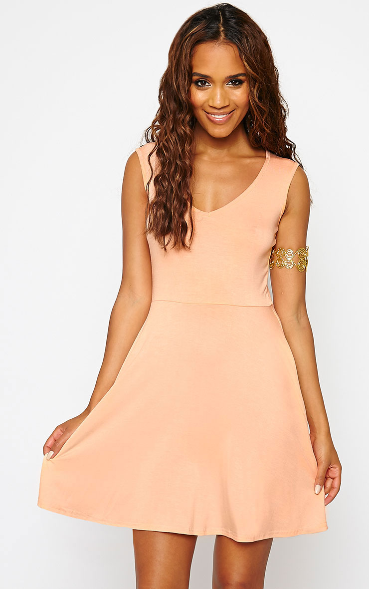 Basic Peach Skater Dress 1