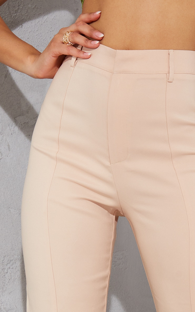 Nude High Waisted Straight Leg Split Hem Trousers 4