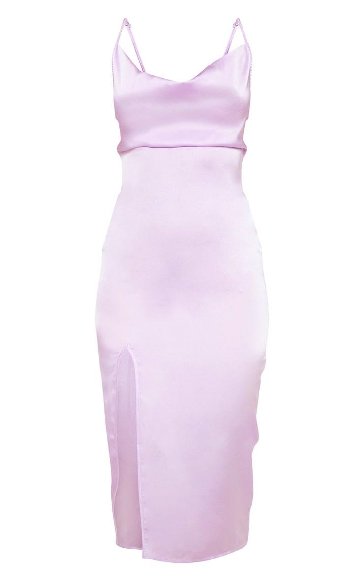 Lilac Strappy Satin Cowl Midi Dress 3