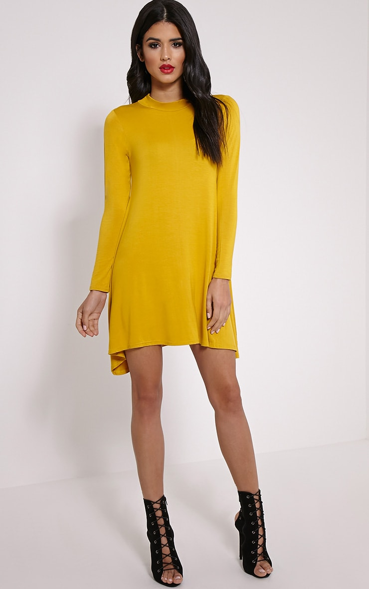 Basic Mustard Long Sleeved Jersey Swing Dress 3