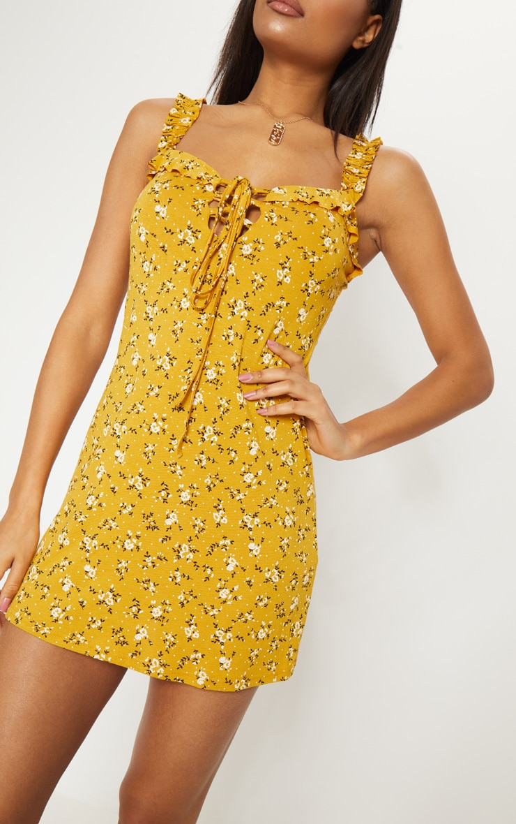 Recycled Mustard Floral Frill Detail Shift Dress 4