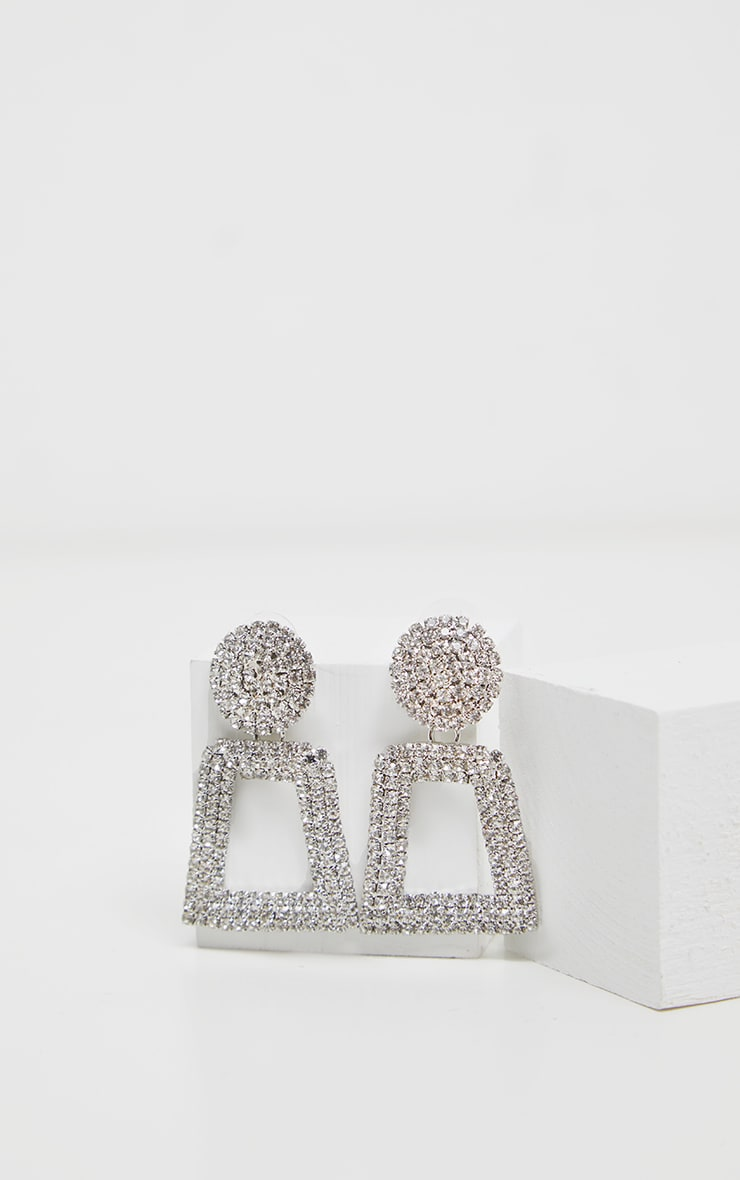 Silver Texture And Diamante Door Knocker Earring 2