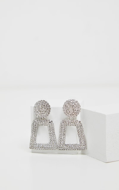 Silver Texture And Diamante Door Knocker Earring