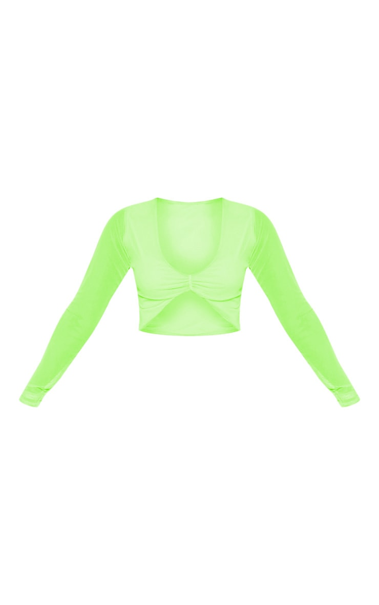 Petite Neon Lime Ruched Front Long Sleeve Mesh Crop Top 3