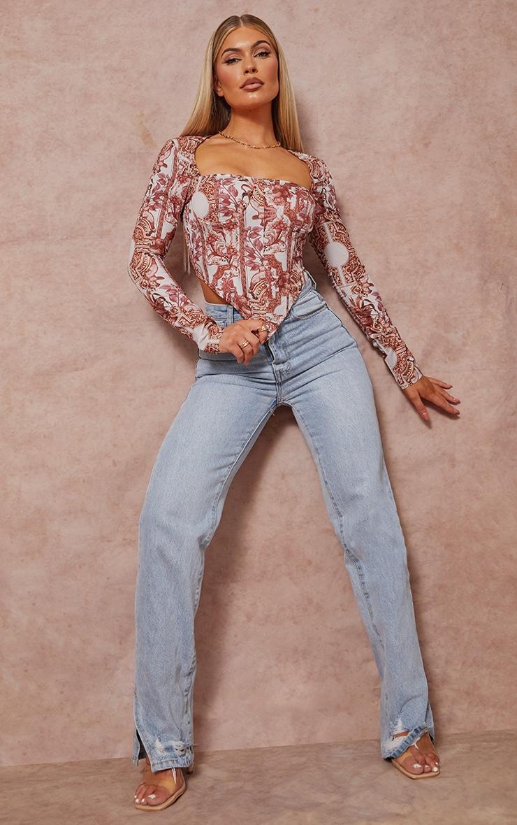 Brown Abstract Border Renaissance Print Woven Long Sleeve Bust Detail Corset Crop Top 3