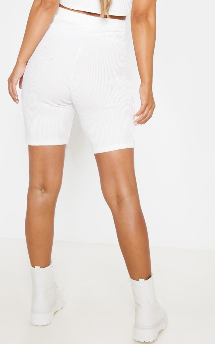 Petite Cream Brushed Rib Cycle Short 4