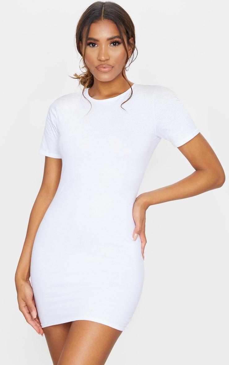 Robe moulante blanche à manches courtes 1