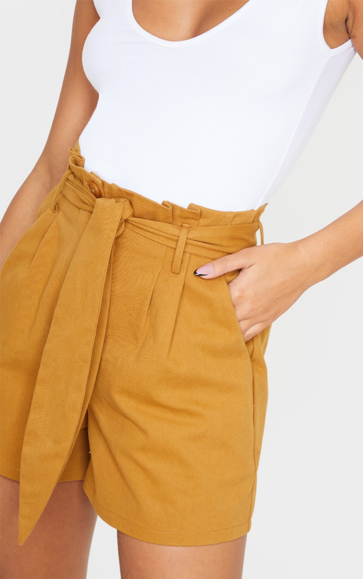 Camel Paperbag Tie Waist Tailored Shorts 5