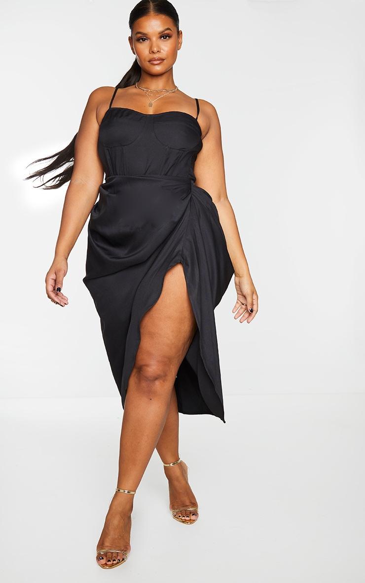 Plus Black Ruched Side Midi Skirt 1