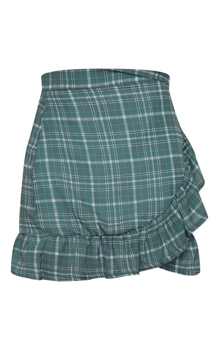 Khaki Check Wrap Frill Hem Mini Skirt 6