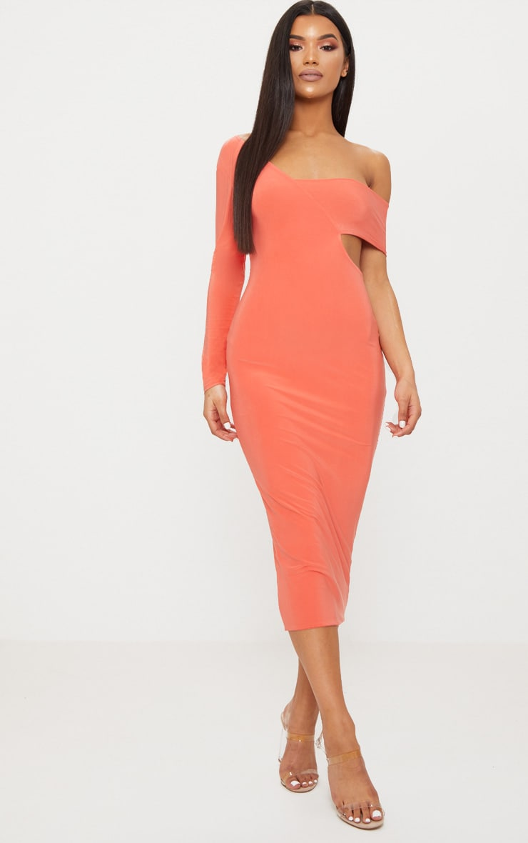Coral Double Layer Slinky One Sleeve Strap Detail Midaxi Dress 1