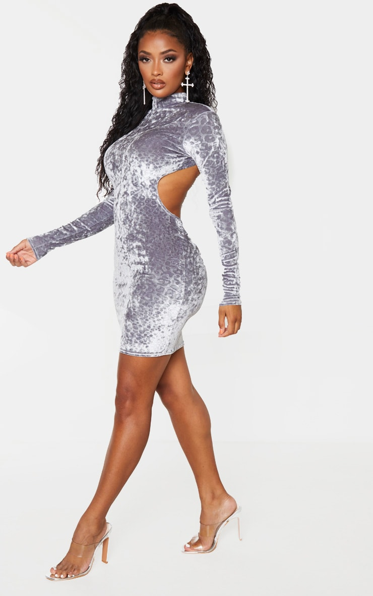 Shape Grey Leopard Print Velvet Cut Out Back Bodycon Dress 1