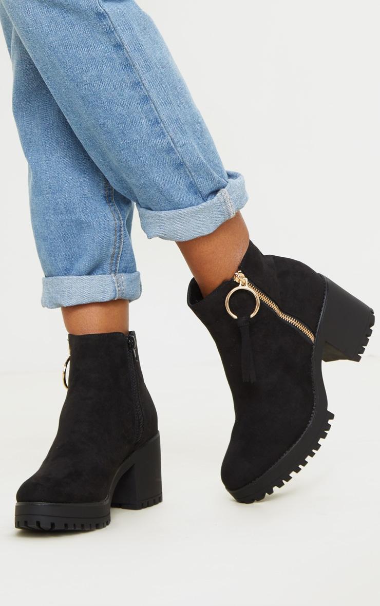 Black Faux Suede Side Ring Zip Block Heel Ankle Boot 1