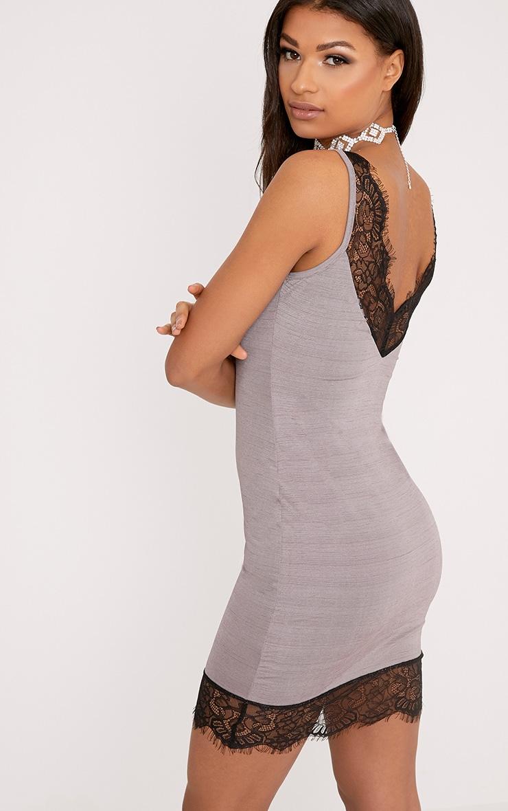Claudiana Mauve Lace Trim Slip Dress 2