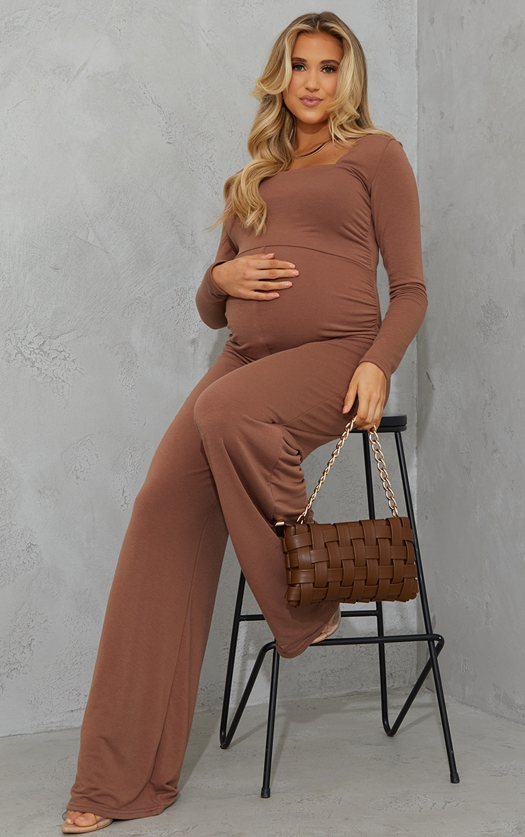 Recycled Maternity Chocolate Contour Jersey Square Neck Jumpsuit 1