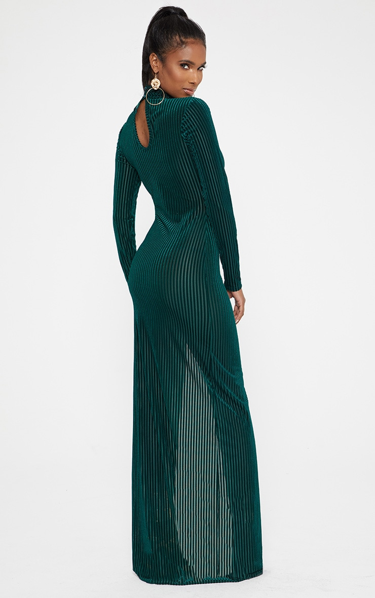 Emerald Green High Neck Long Sleeve Extreme Split Maxi Dress 2