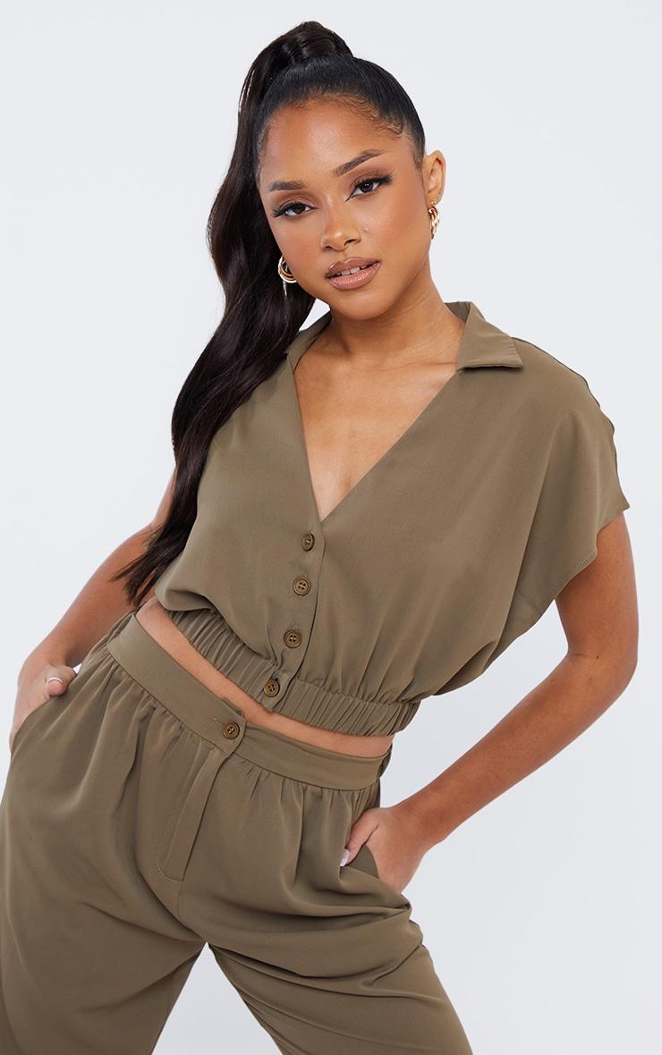 Khaki Woven Chiffon Button Front Short Sleeve Cropped Shirt 1