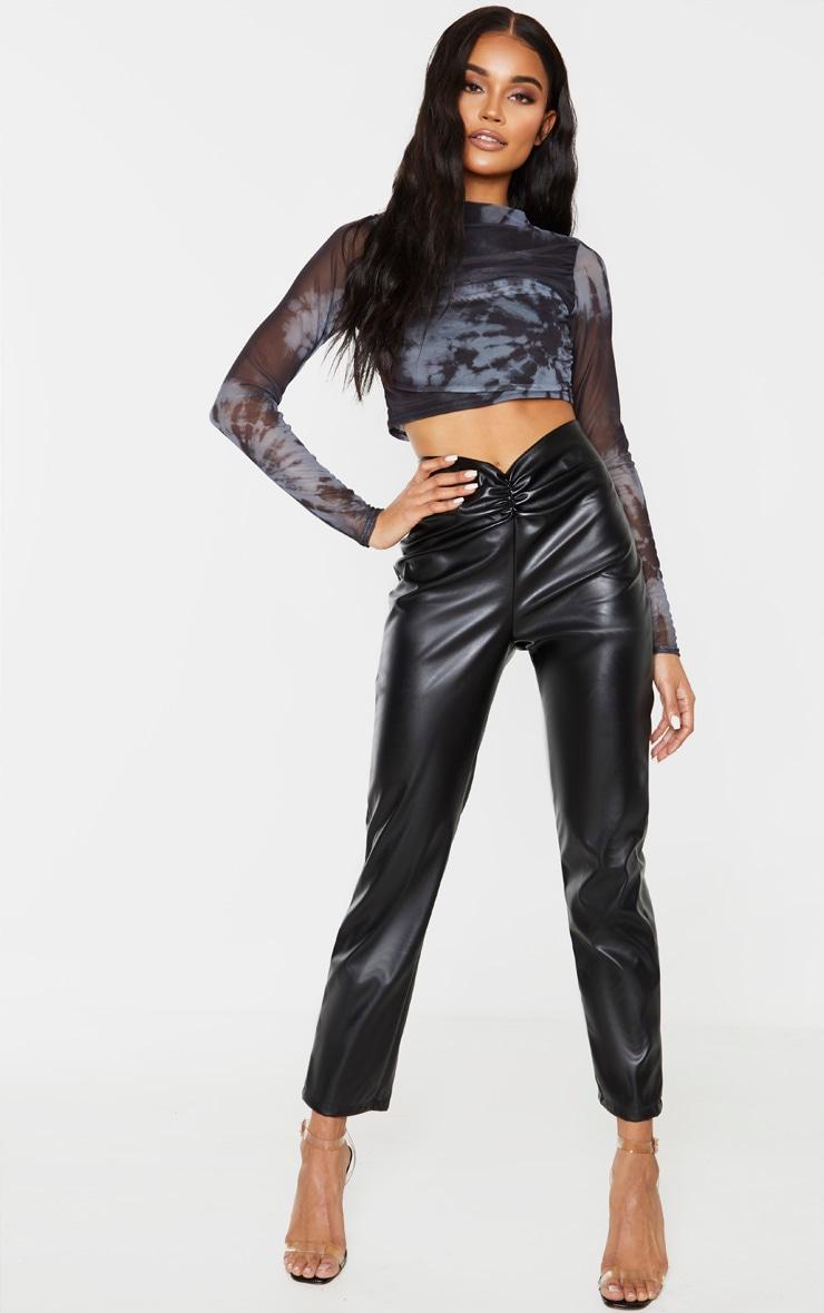 Black Faux Leather Trouser  1