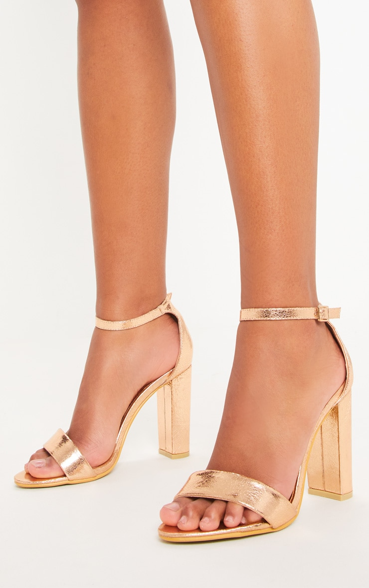 May Rose Gold Block Heeled Sandals 1
