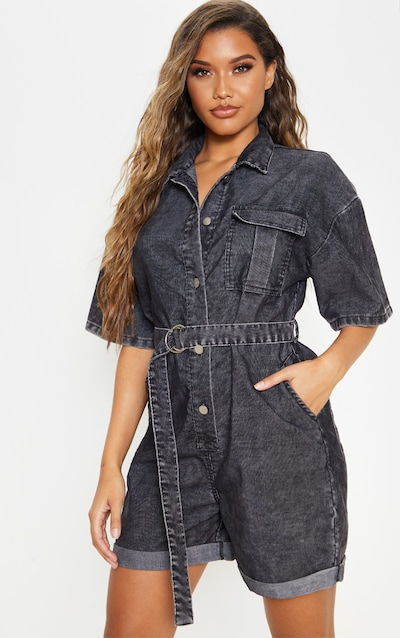 Washed Black Cord Belted Waist Playsuit