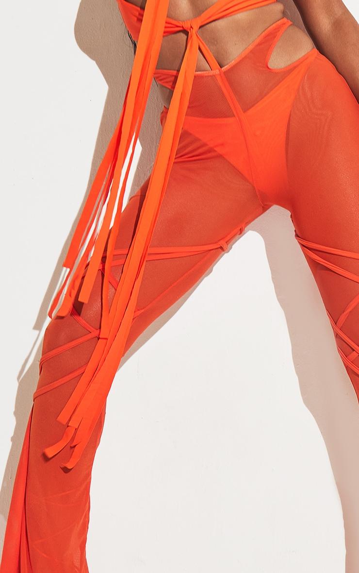 Orange Wrap Mesh Beach Pants 6
