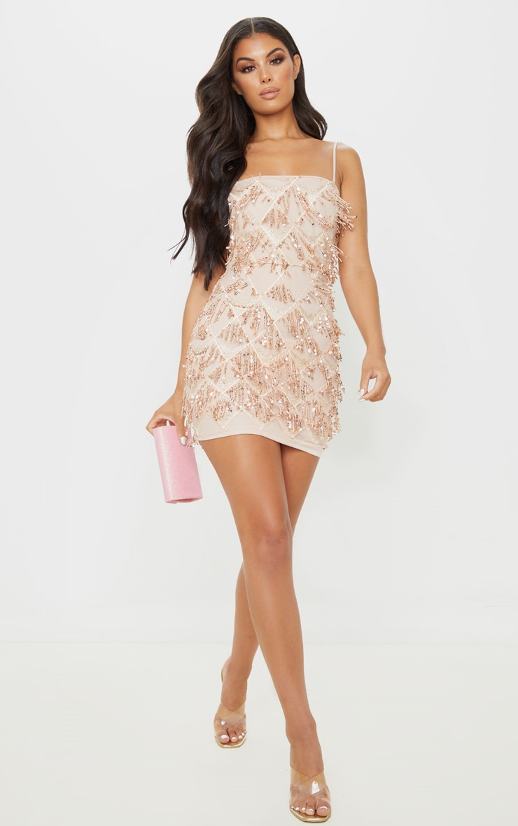Nude Sequin Strappy Square Neck Bodycon Dress 4