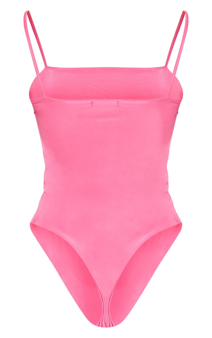 Hot Pink Straight Neck Cami Bodysuit 4