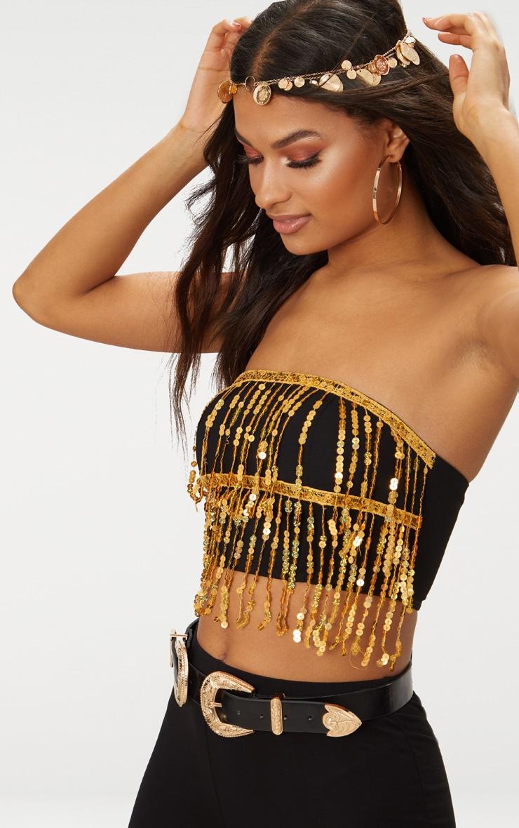 96f1052a000036 Gold Sequin Tassel Bandeau Crop Top | Tops | PrettyLittleThing AUS
